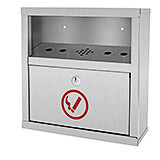 Stainless Steel Quick Clean Wall Mounted Cigarette Disposal Bin / Outdoor Ashtray