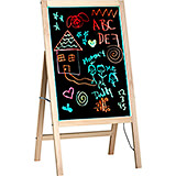 """Beige, Tempered Glass LED Illuminated Message Writing Board On An Wood A-Stand 22"""" X 40"""""""