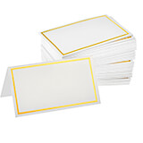 White, Paper Blank Place Cards with Gold Border 2 X 3.5, 100/PK