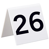 White, Acrylic Self Standing Number Cards, Numbers 26-50, 25/PK