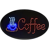 """Black, ABS LED Coffee Sign, Oval, 23"""" X 14"""""""