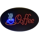 """Black, ABS LED Coffee Sign, Oval, 19"""" X 10"""""""