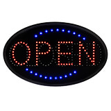 """Black, ABS LED Open/Closed Sign, Oval 23"""" X 14"""""""