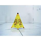 """Yellow, Waterproof Polyester Taffeta 20 """" Pop-Up Wet Floor Sign"""