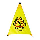 """Yellow, Waterproof Polyester Taffeta 30"""" Pop-Up Wet Floor Sign"""