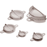 "Plastic Dumpling / Empanada Press, Set Of 5 From 2.5"" To 7"" Thick"