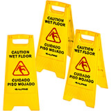 "Yellow, Plastic 24"" Caution Wet Floor Sign, 3/PK"
