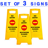 Yellow, Plastic NO Entry Restroom Closed Sign, 3/PK