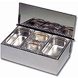 Stainless Steel, 4 Compartment Condiment Caddy, Countertop