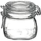 "Clear, Glass Mini Canning Jar With Clamp Lid, 4.12"", 6/PK"
