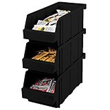 Black, Condiment Holder Bins, No Rack, 12/PK