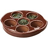 Dark Brown, Earthenware Escargot Dish, 9/PK