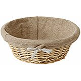 Wicker Lined Bread Basket, Round, 8.75""