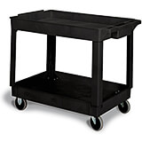Black, Polypropylene 2 Shelf Heavy Duty Utility Cart / Rolling Tool Cart, 400 Lb. Capacity