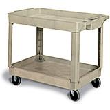 Beige, Polypropylene 2 Shelf Heavy Duty Utility Cart / Rolling Tool Cart, 400 Lb. Capacity