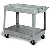 Gray, Polypropylene 2 Shelf Heavy Duty Utility Cart / Rolling Tool Cart, 400 Lb. Capacity