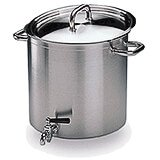 Stainless Steel, Excellence Stock Pot With Lid And Faucet, 38 Qt.