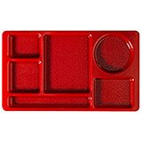 Red, 2x2 Polycarbonate 6-Compartment Cafeteria Trays 24/PK