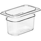 "Clear, 1/9 GN Food Pan, 4"" Deep, 6/PK"