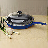 Blue, Cast Iron Frying Pan with Glass Lid, 11""