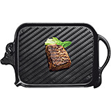 Black, Cast Iron Rectangular Steak Grill, Cow Design