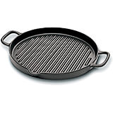 Black, Cast Iron Round Grill with Pouring Spout, 10.25""