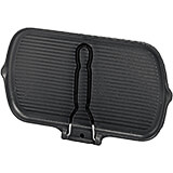 Black, Cast Iron Rectangular Grill, 2 Pouring Spouts and Folding Handle