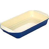 Blue, Cast Iron Large Rectangular Casserole Dish, 3 Qt