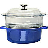 Blue, Cast Iron 2 Piece Steamer with Glass Top, 4 Qt