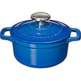 Blue, Cast Iron Round Dutch Oven, 2 Qt
