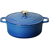 Blue, Cast Iron Round Dutch Oven, 5.5 Qt
