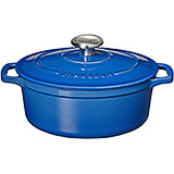 Blue, Cast Iron Oval Dutch Oven, 4.25 Qt