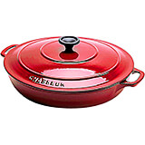 Red, Cast Iron Round Rondeau Pan, 3 Qt