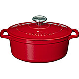 Red, Cast Iron Oval Dutch Oven, 6.75 Qt