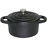 Black, Cast Iron Oval Dutch Oven W/ Lid, 0.42 Qt