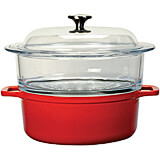 Red, Cast Iron 2 Piece Steamer with Glass Top, 4 Qt
