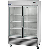 Stainless Steel Commercial Glass Door Refrigerator, Double Door, 49 Cu Ft