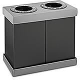Black, Corrugated Plastic 2-Compartment Indoor Trash Can and Recycling Bin, 28 Gal Per Bin