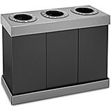 Black, Corrugated Plastic 3-Compartment Indoor Trash Can and Recycling Bin, 28 Gal Per Bin