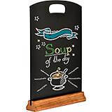 Black, Mdf Table Top Board Sign, Wood Base, 6/PK