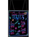 "Black, Tempered Glass LED Illuminated Hanging Message Writing Board W/ Aluminum Frame 32"" X 40"""