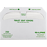 White, Biodegradable Virgin Pulp Flushable Toilet Seat Covers (3 Packs Of 250 Sheets Each), 750/PK