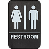 "Black, ABS Unisex Braille Restroom Sign, ADA Compliant, 6"" X 9"", White Lettering"