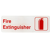 "White, ABS Fire Extinguisher Sign, 3"" X 9"", Red Lettering"