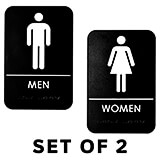Black, Plastic Restroom Signs, Mens and Womens Set, ADA, White Lettering, 2/PK