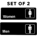 Black, Plastic Restroom Signs, Mens and Womens Set, White Lettering