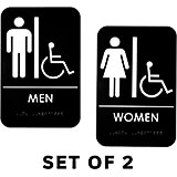 Black, Plastic Braille Handicapped Restroom Signs, Mens and Womens Set, ADA, White Lettering, 2/PK