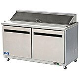 Stainless Steel, Double Door Mega-top Sandwich / Salad Prep Table, 15 Cu Ft