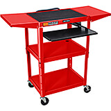 "Red, Steel 24"" To 42"" Height Adjustable AV / Utility Cart with Keyboard Tray & Folding Shelf"