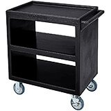 "Black, 33-1/4"" x 20"" Service Cart, Open, 4 Swivel Casters"